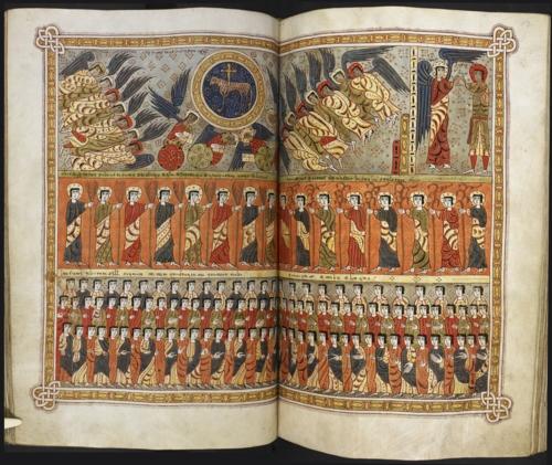 El Cordero, los ángeles y los cuatro vivientes, con los santos y los elegidos - Apocalipsis de la Reina María (British Library)