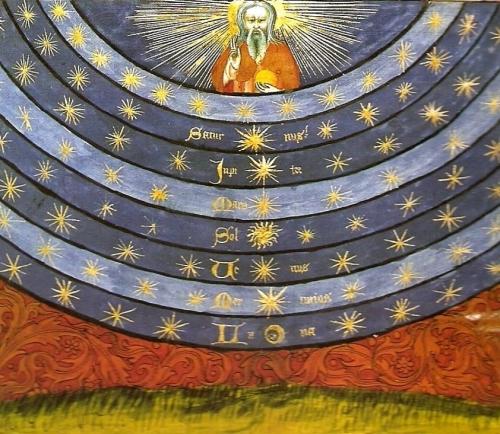 Nicolás de Oresme - Libro del cielo y del mundo (1377) -  En esta imagen las esferas no se ubican en torno a la Tierra sino en torno a Dios. La esfera inmediata a Dios es la de las estrellas fijas. La más externa, la de la Luna