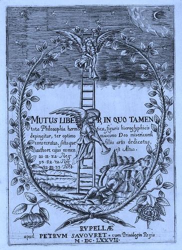 Mutus Liber (El libro mudo): Dos ángeles con trompetas llaman al Jacob durmiente para que vea la escalera que se extiende desde la Tierra hasta el cielo. La imagen sugiere también las trompetas del Apocalipsis y el viaje espiritual del alquimista (Joscelyn Godwin, Armonía de las esferas, Atalanta 2009