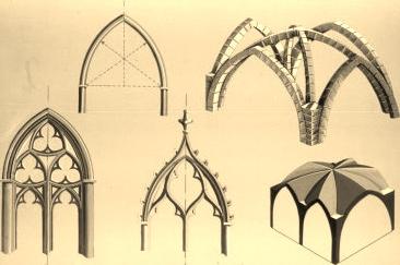 Arcos góticos y bóvedas de crucero