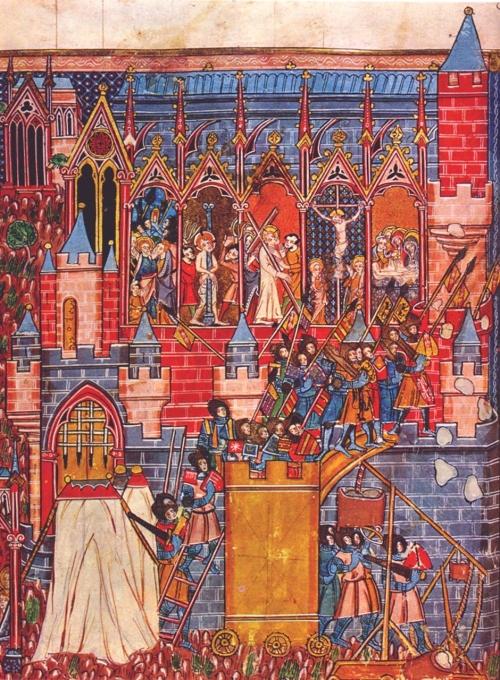 Sitio de Jerusalén por los cruzados - Manuscrito del siglo XIII