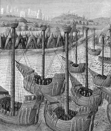Llegada de navíos occidentales a Constantinopla - Paris, Biblioteca Nacional, s. XIV