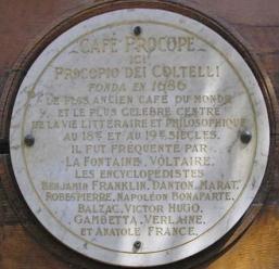 Café Procope (Paris) - Placa conmemorativa