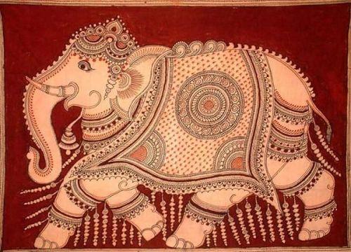 Elefante al estilo de Kalamkari en Andra Pradesh